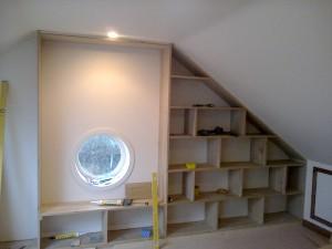 Bespoke Oak Wood Book Shelf With Portal Window