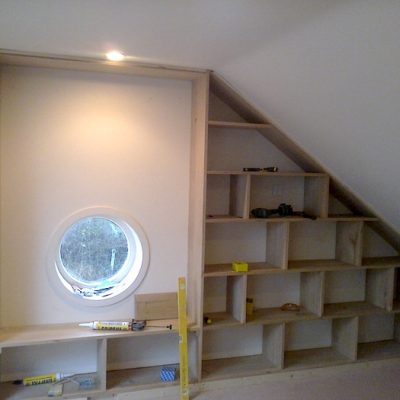 Bespoke Oak Wood Book Shelf With Portal Window