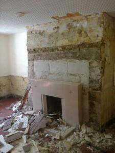 Demolition Old Devon Cottage Cob Wall Fire Place1