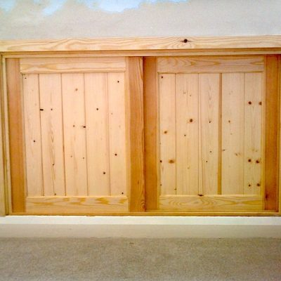 Pine Wood Cupboard In Wall