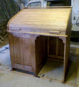 Restored Victorian Writing Desk With Consertina Wooden Pull Down