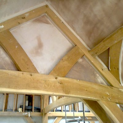 Traditional Oak Beam Ceiling New Plaster JG Carpenters Devon