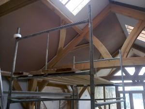 Traditional Oak Beam Ceiling New Plaster JG Carpenters Devon3