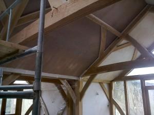 Traditional Oak Beam Ceiling New Plaster JG Carpenters Devon4