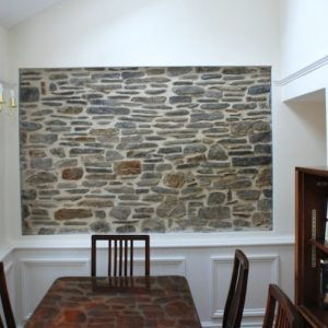 Feature Stone Wall Framed Wooden Panels