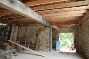 Inside Installation First Floor Joist Beams Barn Conversion Devon