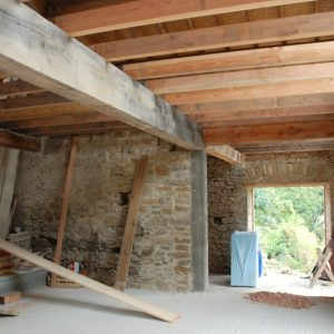 Inside Installation First Floor Joist Beams Barn Conversion Devon