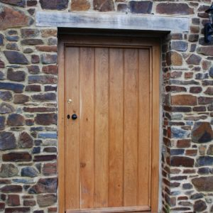 Oak Door Devon Stone Wall