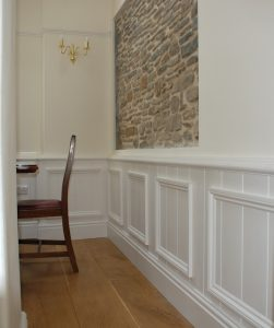 Oak Floor Half Panel Wall Feature Stone Wall