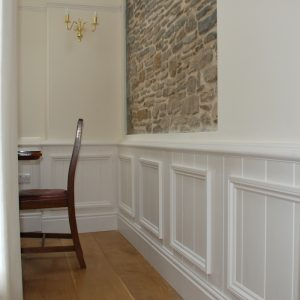 Oak Floor Half Panel Wall Feature Stone Wall