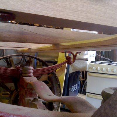 17th Century Wooden Cart Restoration Showing Metal Suspension3