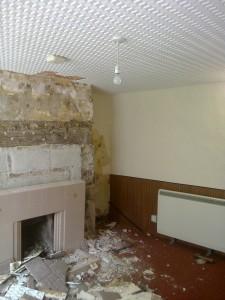 Demolition Old Devon Cottage Cob Wall Fire Place