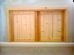 Pine Wood Cupboard In Wall