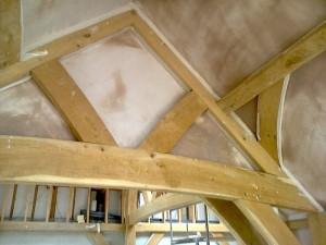 Traditional Oak Beam Ceiling New Plaster JG Carpenters Devon