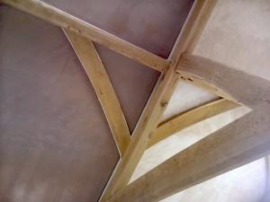 Traditional Oak Beam Ceiling New Plaster JG Carpenters Devon2